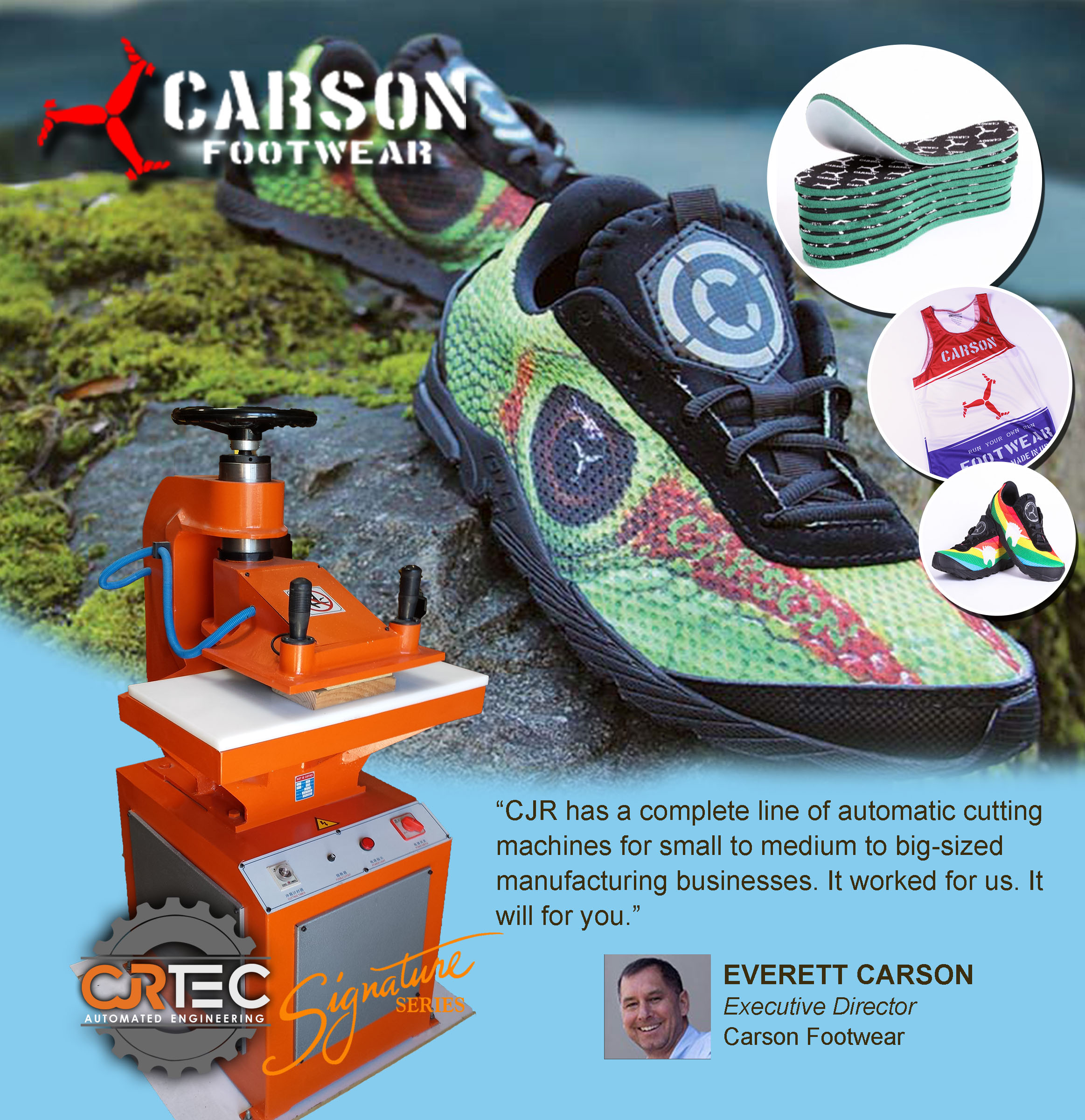 carson footwear uses cjrtec swing arm press