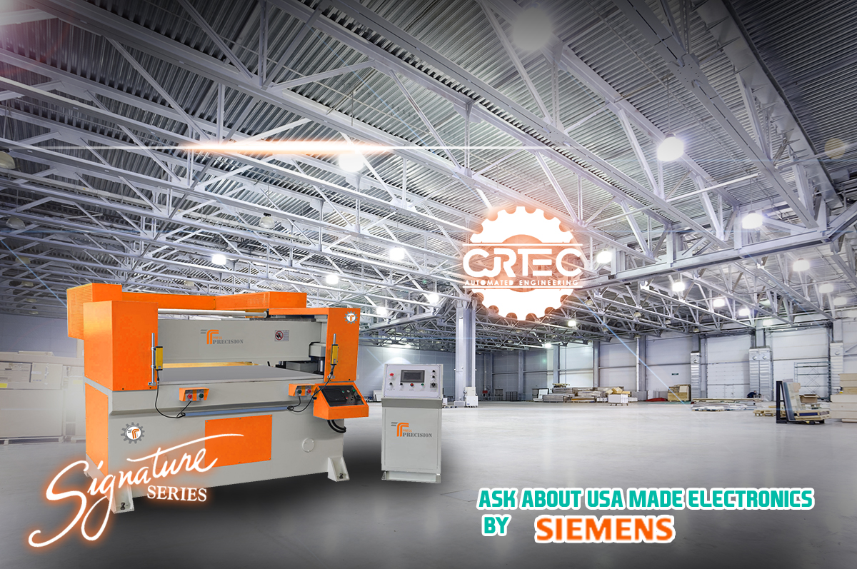 high quality beam press machine painted in orange with programmable logic controller on the right side
