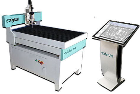 small waterjet machine with CNC monitor and controller